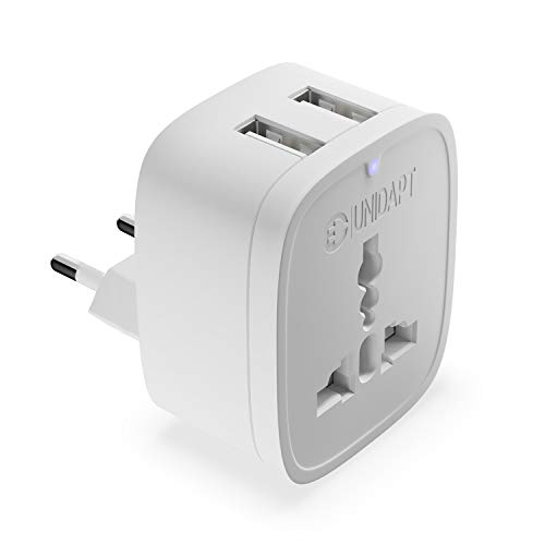 Europe Plug Adapter, USA to European Adapter, Unidapt Small UK American to European Outlet Plug Adapter, US to EU Adapter, Universal Input USA/Canada to Europe/Asia Travel Power Plug Adapter (Type C)