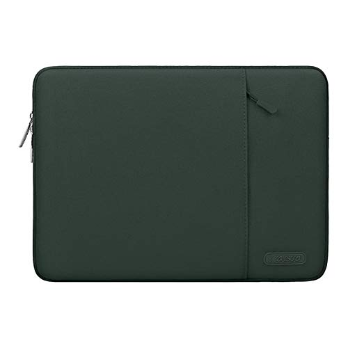 MOSISO Laptop Sleeve Bag Compatible with 13-13.3 inch MacBook Pro, MacBook Air, Notebook Computer, Water Repellent Polyester Vertical Protective Case with Pocket, Midnight Green