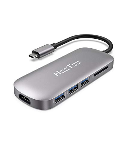 USB C Hub, HooToo 6-in-1 USB C to 4K HDMI Adapter with 100W Power Delivery, SD card reader, 3 USB 3.0 port for MacBook/Pro/Air/IMAC and Type C Windows Laptops