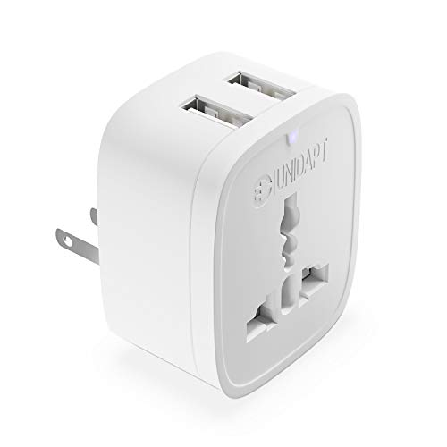Europe to US Plug Adapter with 2 USB Outlet, Unidapt American USB Wall Charger 3 in 1, EU Australian China UK European to USA Canada Mexico Japan Travel Power Plug Adapter (Type A)