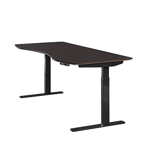 ApexDesk Elite Series 60' W Electric Height Adjustable Standing Desk (Memory Controller, 60' Walnut Top, Black Frame)