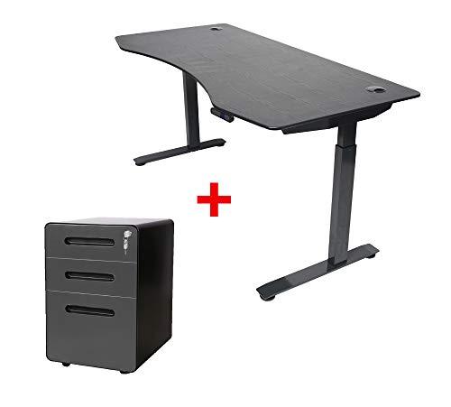 ApexDesk Elite Series 60' W Electric Height Adjustable Standing Desk (Memory Controller, 60' Black Top, Black Frame)