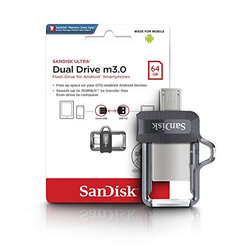 SanDisk 64GB Ultra Dual Drive M3.0 for Android Devices and Computers - MicroUSB, USB 3.0 - SDDD3-064G-G46,Black