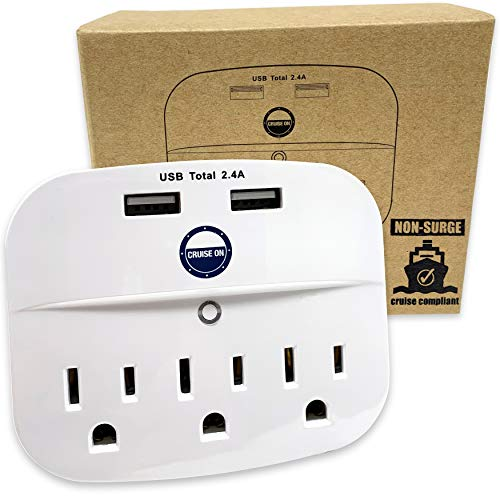Cruise Power Strip No Surge Protector with USB Outlets - Ship Approved (Non Surge Protection) Cruise Essentials