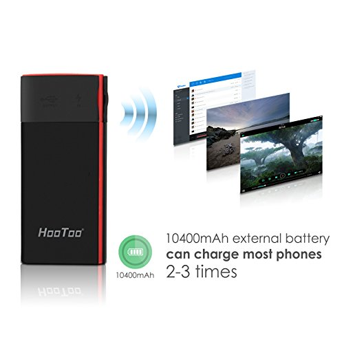 HooToo Filehub, Wireless Travel Router, iPhone iPad Portable SSD Hard Drive Reader, Photo Backup Device, 10400mAh External Battery Pack Travel Charger - TripMate Titan