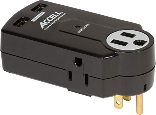 Accell Power Travel Surge Protector - 3 Outlets, 2 USB Charging Ports (2.1A Output), Folding Plug - Black, 612 Joules, ETL Listed