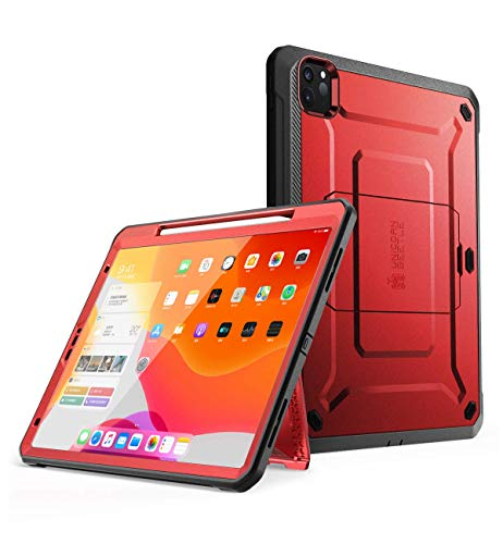 SUPCASE UB Pro Series Case for iPad Pro 11 2020, Support Apple Pencil Charging with Built-in Screen Protector Full-Body Rugged Kickstand Protective Case for iPad Pro 11 inch 2020 Release (MetallicRed)