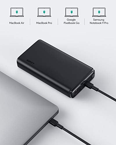 AUKEY USB C Power Bank 26800mAh, 60W PD Portable Charger with Quick Charge 3.0, Battery Pack Compatible with MacBook Pro/Air, iPhone 11 Pro/XS, USBCLaptop, NintendoSwitch,Tablet, Samsung and More