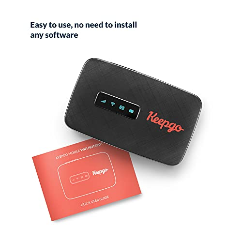 Keepgo Lifetime Mobile Travel WiFi Hotspot + 1GB Credit, 2G/3G/4G LTE, Data Valid for Life, 100+ Countries, Portable Pocked-Sized Router, Up to 15 Connected Wireless Devices