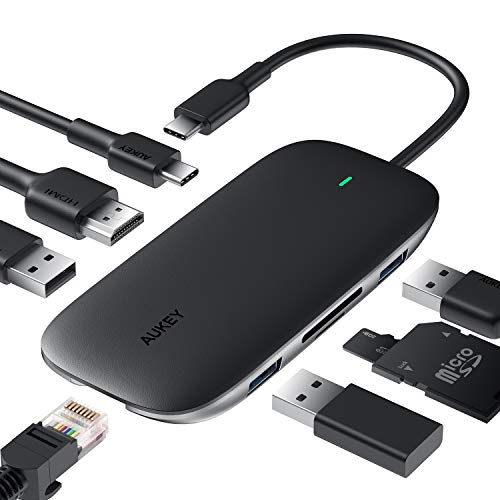 USB C Hub AUKEY 8-in-1 Type C Hub with Ethernet Port,4K USB C to HDMI, 3 USB 3.0 Ports, 100W USB C Power Delivery Charging, SD/TF Card Reader for MacBook Pro, Chromebook Pixel and Other USB C Laptops