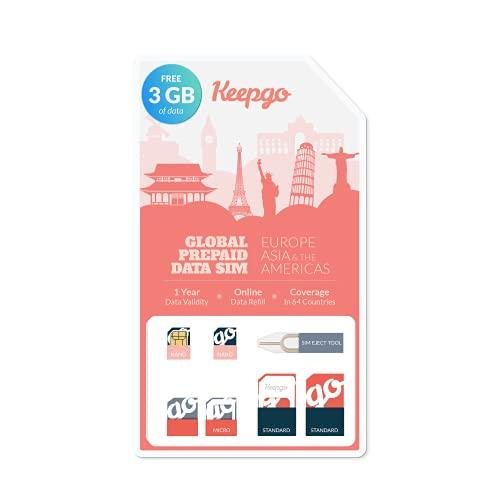 Keepgo Lifetime Prepaid Data Sim Card + 3GB Data   2G/3G/4G LTE   Data Valid for Life   100+ Countries   Unlocked GSM Devices   3-in-1 SIM Kit