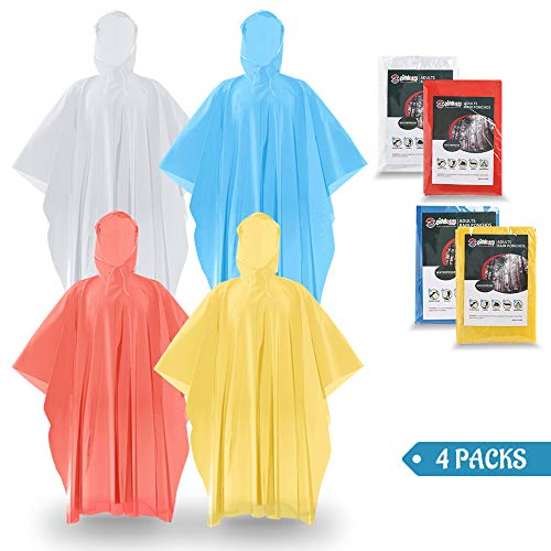SaphiRose 4 Packs Thick Disposable Ponchos Family Emergency Raincoats for Adults Men Women