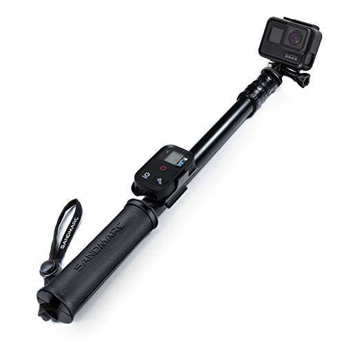 "SANDMARC Pole - Black Edition: 17-40"" Waterproof Extension Pole (Selfie Stick) for GoPro Hero 9, 8, Max, 7, 6, Fusion, Hero 5, 4, 3 - with Remote Clip"