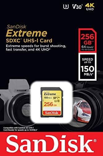 SanDisk 256GB Extreme SDXC UHS-I Card - C10, U3, V30, 4K UHD, SD Card - SDSDXV5-256G-GNCIN