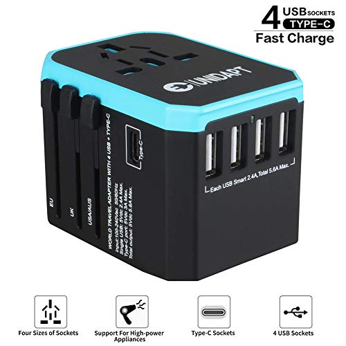 Unidapt Universal Travel Adapter - International Travel Adapter - All in one World Power Adaptor Charger with 5.6A Smart Power & 3.0A USB Type-C US to EU, AU, UK, USA - 160 Countries (Blue)