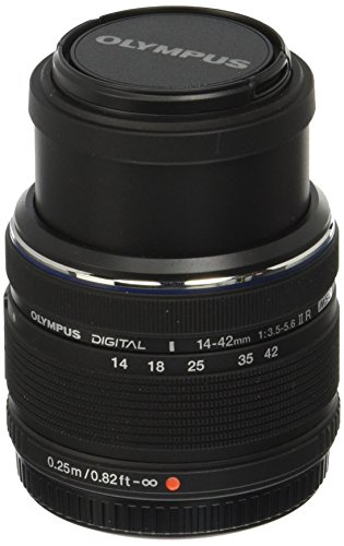 Olympus M.Zuiko Digital 14-42mm F3.5-5.6 II R Lens, for Micro Four Thirds Cameras (Black)