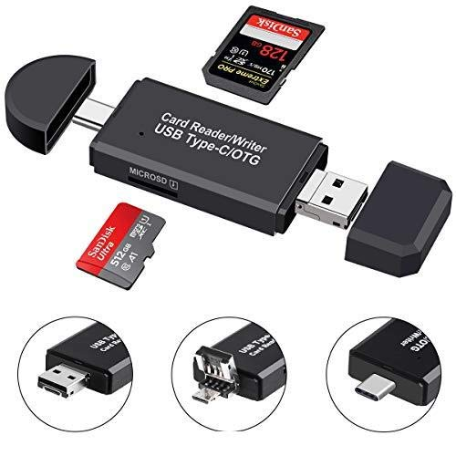SD Card Reader, Micro SD/TF Compact Flash Card Reader, Portable Memory Card Reader with 3-in-1 USB Type C/Micro USB Male Adapter, Suitable for & PC, Laptop, Smart Phone and Tablet
