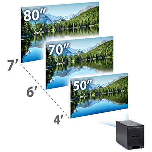 Miroir M175 Portable Projector, Black, 80 Inch Picture, 1080P Supported, Home / Outdoor Entertainment, Rechargeable Battery, Compatible with TV Stick / Laptop / Phone / Game Console
