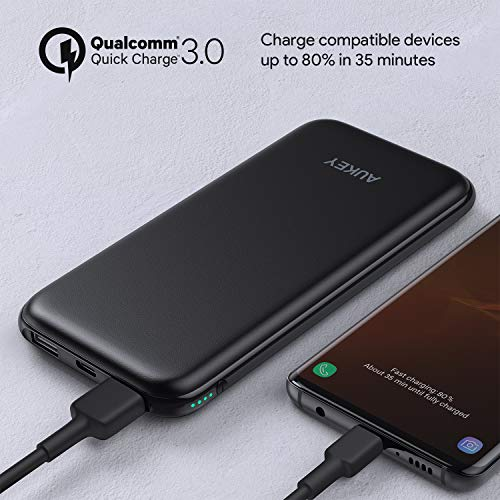 AUKEY Wireless Power Bank with 18W Power Delivery, Wireless Charger Portable 8000mAh, USB C Power Bank with QC 3.0, Wireless Charging Compatible with iPhone 11/ 11 Pro/ Xs/XR, New Airpods, Samsung