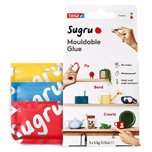 Sugru Moldable Multi-Purpose Glue for Creative Fixing and Making, 3-Pack, Red, Blue & Yellow, 8 Piece