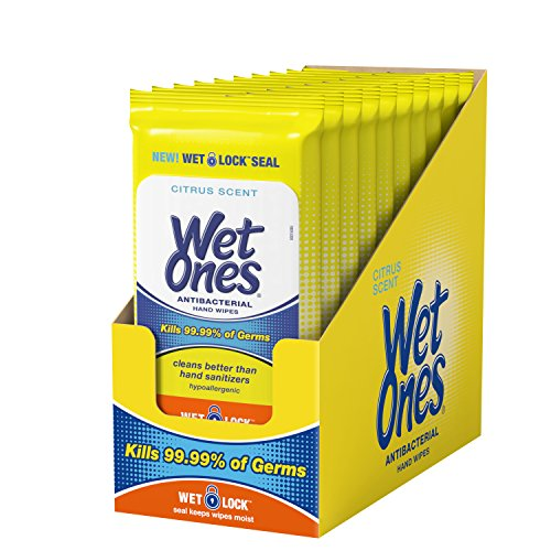 Wet Ones Citrus Antibacterial Hand Wipes, 20Count