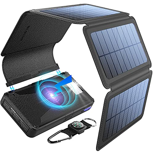 BLAVOR Solar Charger Five Panels Detachable, Qi Wireless Charger 20000mAh Portable Power Bank with Dual Output Type C Input Flashlight and Compass Kit (Black, 20000mah)