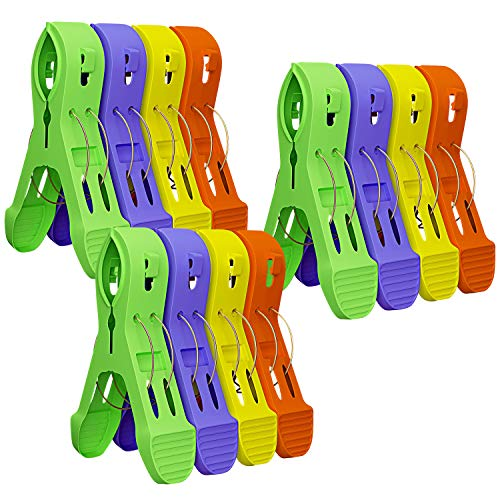Attmu Beach Towel Clips for Beach Chairs(12 Pack), Towel Holder in Fun Bright Colors, Keep Towel from Blowing Away