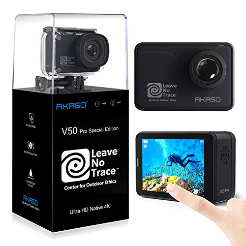 AKASO V50 Pro Leave No Trace Special Edition Action Camera Touch Screen 4K60 Waterproof Camera Features EIS and Wi-Fi Remote Control Sports Camera with 3 Batteries Wrist Strap and Accessory Kit