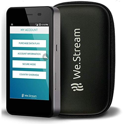 We.Stream Premium Mobile WiFi Hotspot for International Travelers - 50 GB US Data - Data 3 months valid - Multiple US networks - 150+ Countries - MiFi - Touch Screen - 4G LTE - Powerbank …