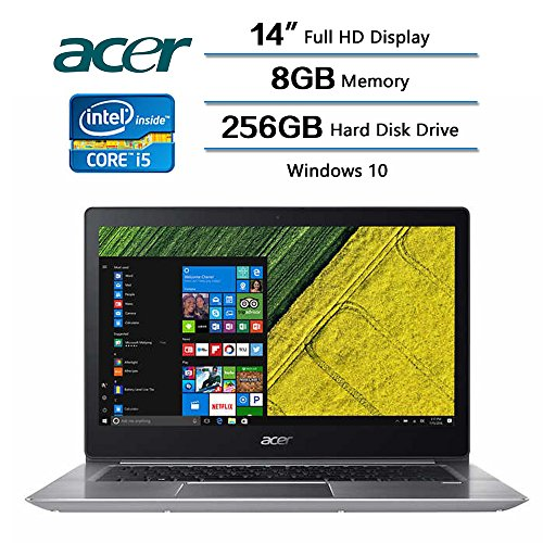 2018 Flagship Acer Swift 3 Laptop, 14' LED-backlit Widescreen FHD IPS Display, Intel Core i5-8250U Processor at 1.6GHz, 8 GB DDR4 SDRAM, 256 GB Solid State Drive, Windows 10 Home