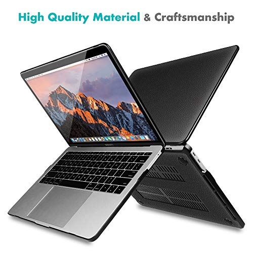 Fintie Protective Case for MacBook Pro 13 (2019 2018 2017 2016 Release) - PU Leather Coated Hard Cover for MacBook Pro 13 Inch A2159 A1989 A1706 A1708 with/Without Touch Bar & Touch ID, Black