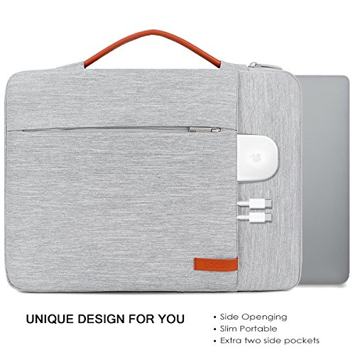 Lacdo 360° Protective Laptop Sleeve Case Computer Bag for 13.3' Old MacBook Air 2010-2017 | 13 Inch MacBook Pro 2012-2015 | Surface Book 3 2 | 12.9 iPad Pro 1st/2nd Gen, HP ASUS Acer Chromebook, Gray