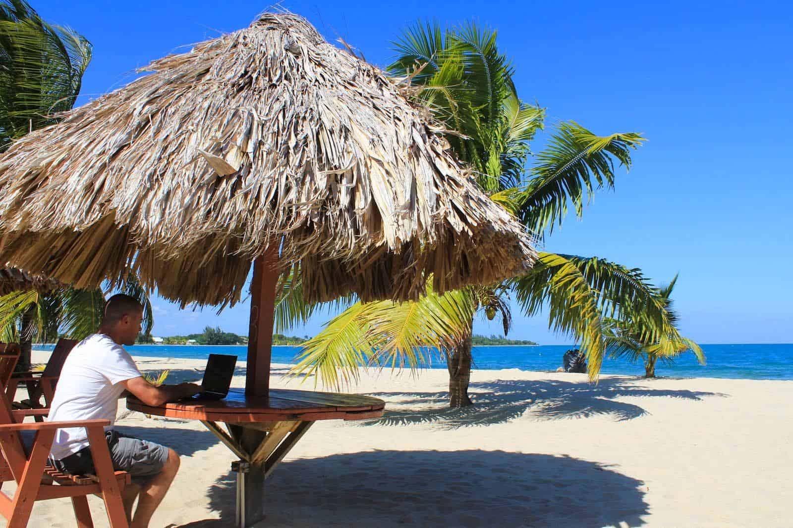 Dave working on beach