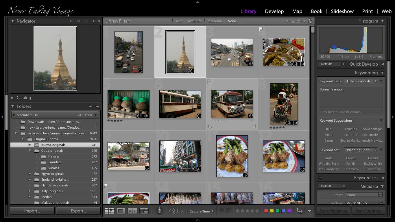 Screenshot of Lightroom running on the MacBook Air