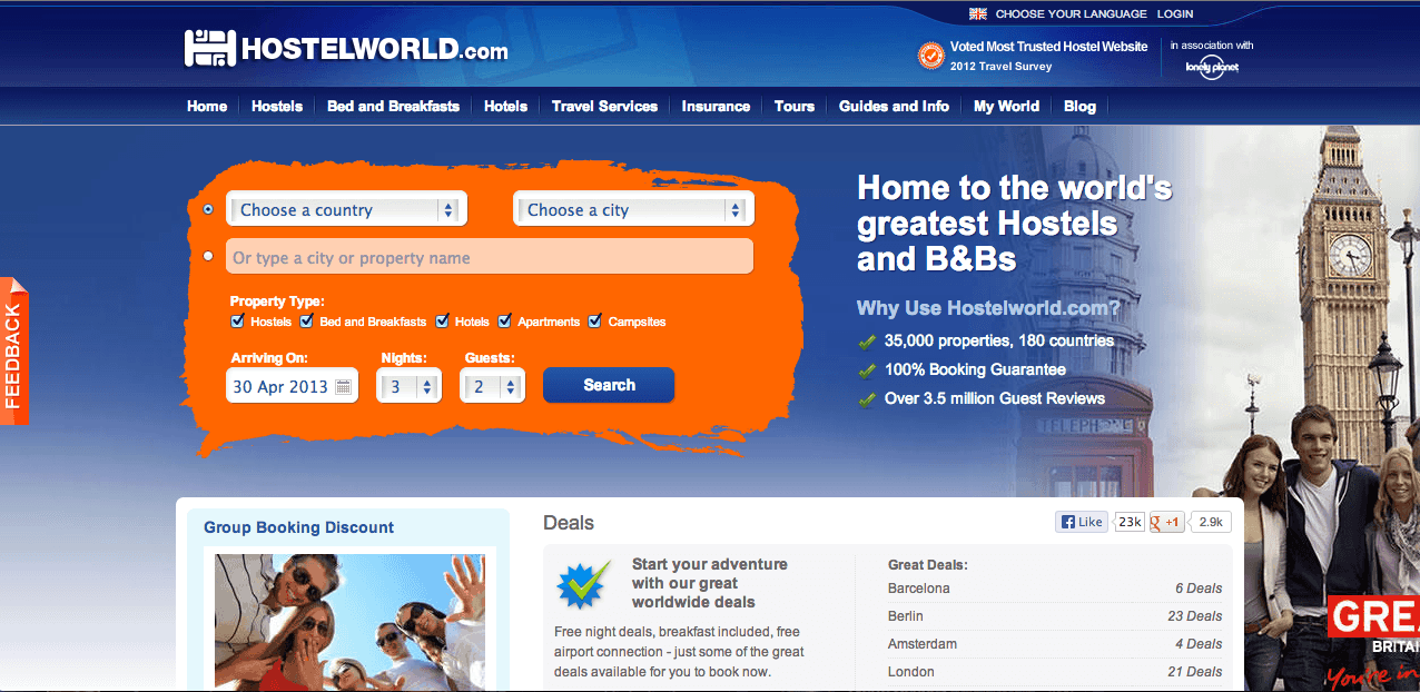 HostelWorld screenshot