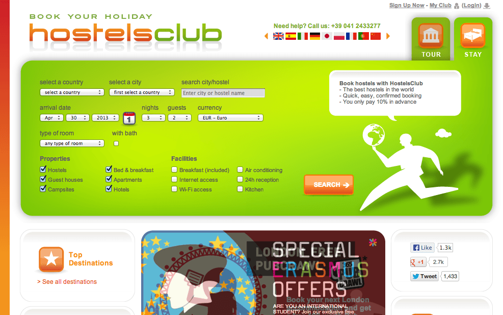 HostelsClub screenshot
