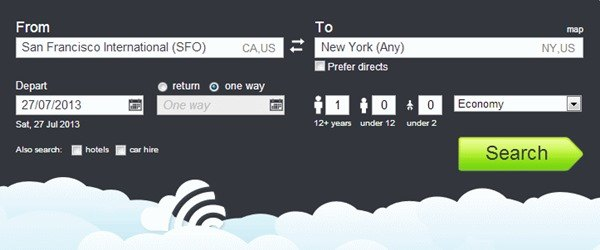 Skyscanner search box