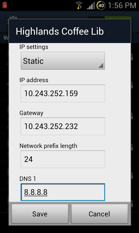 Changing DNS server settings on Android screenshot