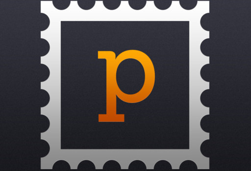 The Postagram icon which is an orange P in an stamp on a dark background