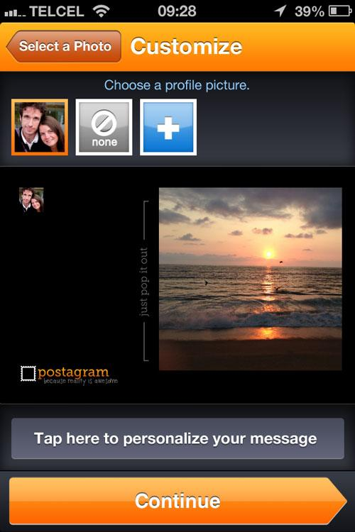 A screenshot of the Postagram customize screen.