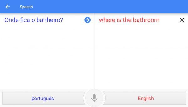 Portuguese and English spoken translation