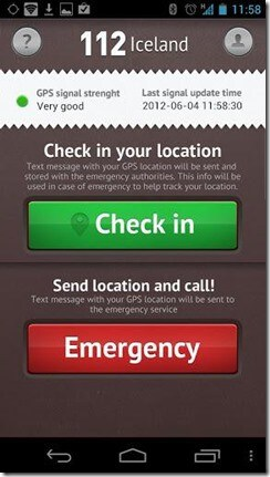 112 Iceland emergency app