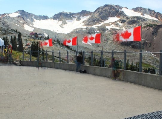 bad blurry Canadian flags