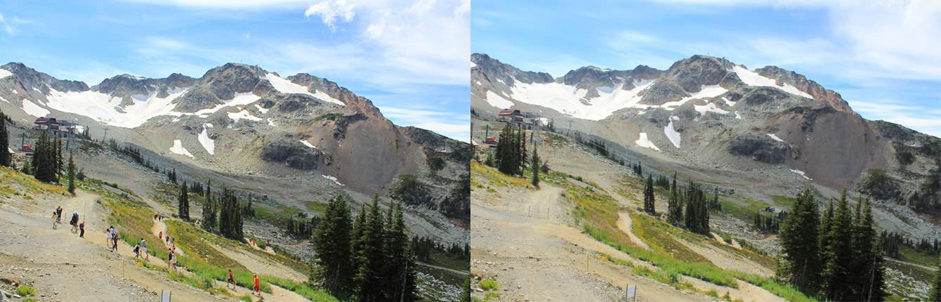 Before and after shots at Whistler