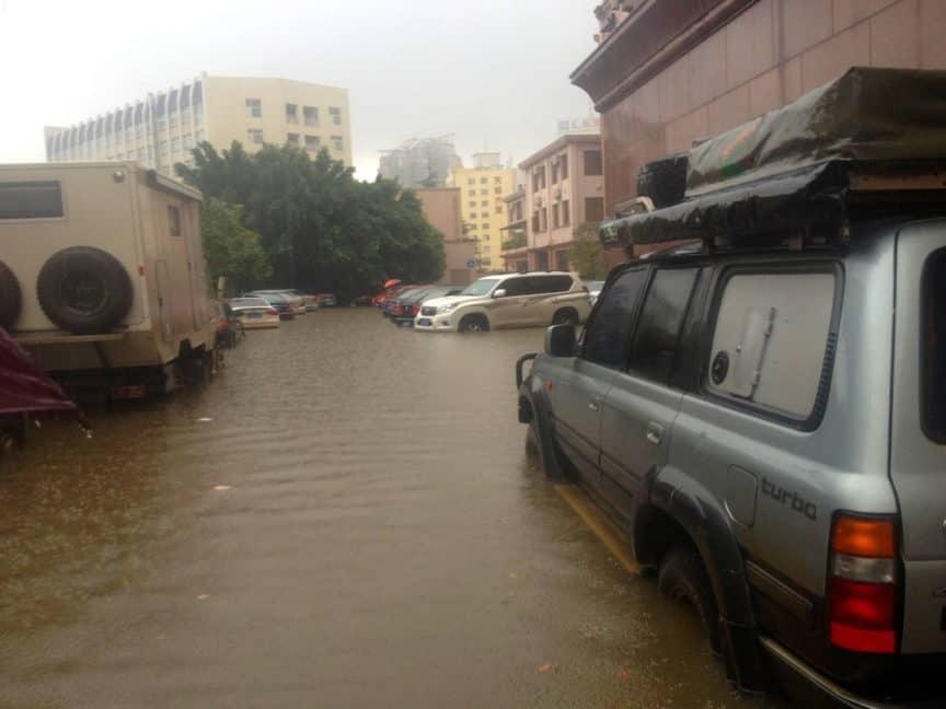 Driving through floodwater in Kunming, China