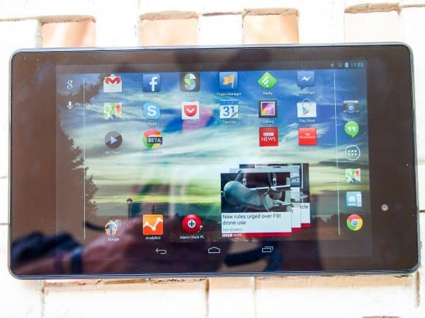 Nexus 7 face-up on table