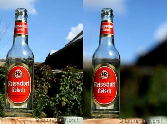 Beer bottles showing depth of field