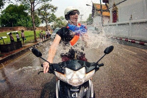 GoPro on moped during Songkran