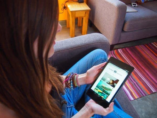 Lauren with tablet