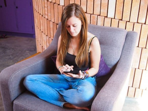 Lauren on tablet